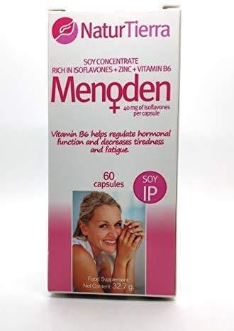 SUPLEMENTO MENOPAUSIA - MENODEN + VITAMINA B6 Y ZINC –CONCENTRADO DE SOJA - AYUDA A REGULAR LA FUNCIÓN HORMONAL Y A RESTABLECER EL EQUILIBRIO NATURAL DEL CUERPO - 60 CAPSULAS - ZENTRUM