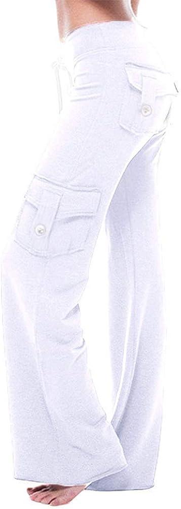 Onsoyours Pantalons Femme Couleur Unie Loose Taille Haute /Élastique Cordon Casual Mode Sport Jogging Multipoche Pantalon De Yoga