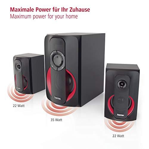 Hama 2.1 Soundsystem Bluetooth mit Fernbedienung (80W, für TV/PC/Mac, PC-Lautsprecher mit Subwoofer, Bluetooth, USB-Anschluss, SD-/MMC-Slot) Lautsprecher-System schwarz/rot