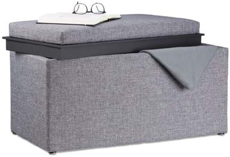 Relaxdays Sitztruhe mit Stauraum, H x B x T  42,5 x 78 x 40 cm, Aufbewahrungsbox, Polster, Leinen Optik, dunkelgrau