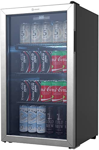 Vremi Beverage Refrigerator and Cooler 110 to 130 Can Mini Fridge with Glass Door for Soda Beer product image