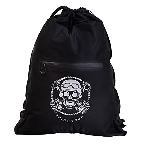 DOUDOU Kordelzug-Rucksack-TPU-Lycra-Stoff 15l Mit Airbag-tragsystem, Sportkordelzug-Tasche, Wasserdicht Im Freien, Kordelzug-Rucksack Mit Externer Reißverschlusstasche(Size:15L,Color:Black)