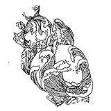 YLGG Etiquetas engomadas temporales del Tatuaje de la Moda de Las Olas del mar, adecuadas para Hombres y Mujeres, Impermeables, extraíbles