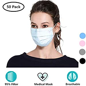 Cshopping Surgical Disposable Face Masks, Respirator Mouth Mask Medicom Safety Cover, Protective Safe Mask with Elastic Ear Loop, Block Dust Air Pollution Flu-50 Pieces