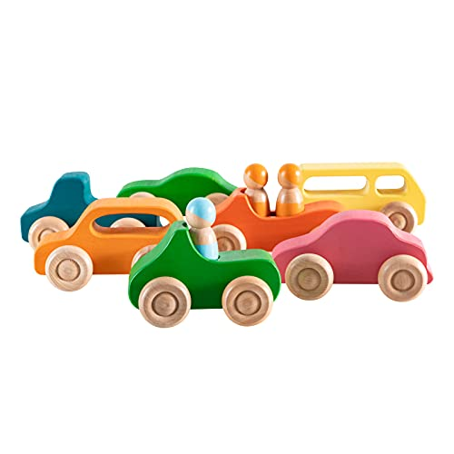 Wooden Car with Peg Dolls Wooden Rainbow Crafts,7 Wood Cars with 3 Rainbow Peg Doll, Montessori Baby Gift Pretend Play for Toddler