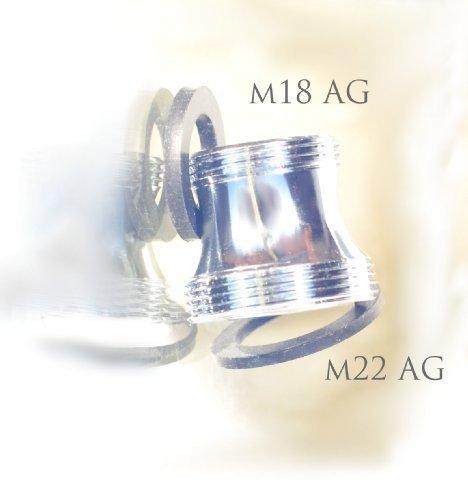 M18 AG x M22 AG, lang, chrom, Gewinde Adapter für Perlstrahler Gewinde am Wasserhahn, M22x18x1 Aussengewinde m18x1, passt auch für Ikea Ringskär Perlstrahler Gewinde - um dort ein M22x1 Sprudler oder Aquadea Kristall Implosions Wirbler anzubringen