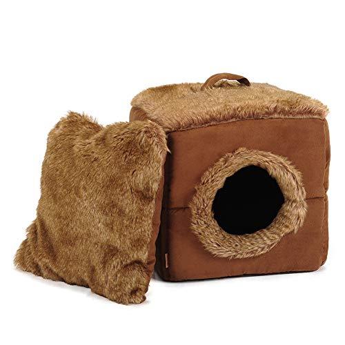 Monba Katzenhöhle, weich, gemütlich, wärmend, abnehmbares Haustierkissen, waschbar, niedliches Katzensofa, 2-in-1 Faltbare Höhle für Katzen, kleine Hunde