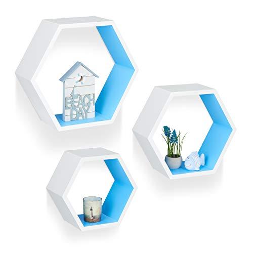 Relaxdays Wandregale sechseckig, Hängeregale 3er Set, freischwebende Dekoregale, Holzregale Kinderzimmer, MDF, weiß/blau
