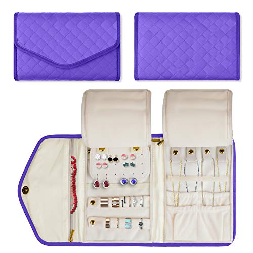 Teamoy Jewelry Travel Organizer, Quilted Jewelry Roll Storage Bag for Necklace, Earrings, Bracelets, Rings, Brooches and More, Purple