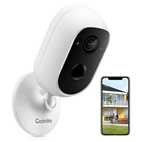 Security Camera Outdoor, Codnida Rechargeable Battery Powered WiFi Camera, Home Security Camera Indoor/Outdoor Wireless, Night Vision, Motion Detection, 2-Way Audio, Waterproof, SD/Cloud Storage