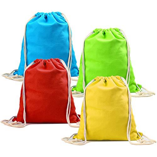 Boenfu 4 pz Zaino con coulisse 100% cotone Cinch Palette da palestra Plain Sport naturali Sacco di sacco per la scuola Palestra Itinerario Piscina Picnic Bambini bambini uomo donna