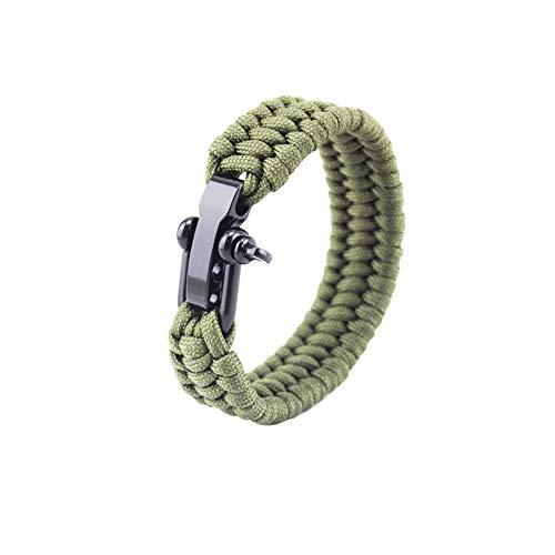 Romote 1 pc Bracciale Sopravvivenza con Regolabile in Acciaio Inox Grillo Paracord Wristband tattico del Cavo della Corda Braccialetti di Ultimate Outdoor Accessori (Verde dell'Esercito, 9inch)