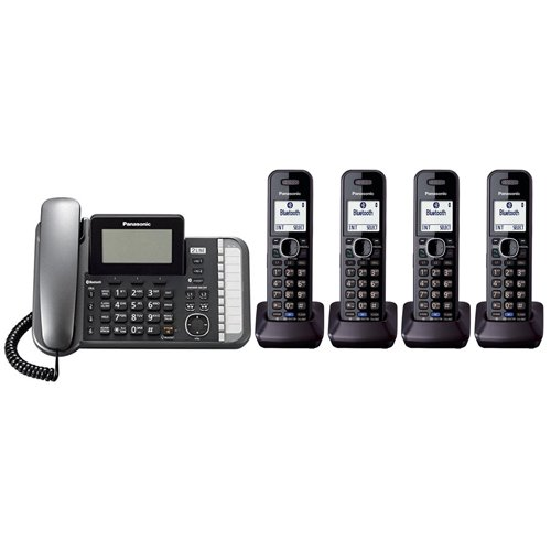 Panasonic KX-TG9582B + 2 KX-TGA950B Corded/Cordless Combination Telephone 2-Line DECT 6.0 System