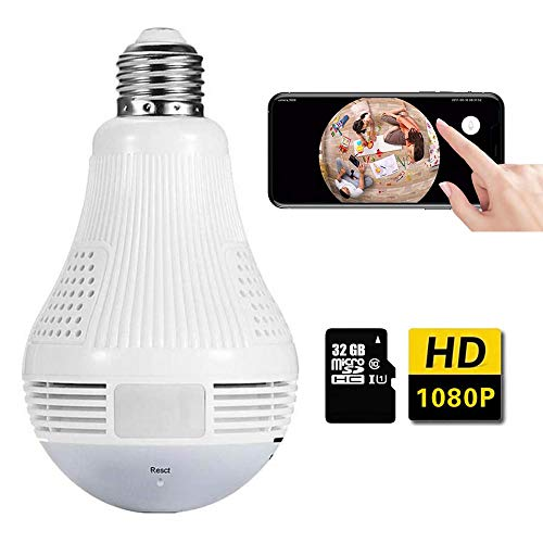 Light Bulb Camera,Include 32GB Card 1080P WiFi Security Camera, 2MP Wireles IP LED Cam,360 Degrees Panoramic VR Indoor/Outdoor Home Surveillance Cameras,Motion Detection/Night Vision/Alarm (White)