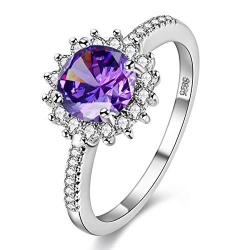 Uloveido platiniert Sonnenblume Design Ring mit großen runden Zirkonia Stein Birthstone Ringe für Frauen Y3522 (lila, Größe 52)