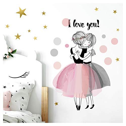 Little Deco Wandaufkleber Zwei Mädchen I Love You I S - 50 x 32 cm (BxH) I Wandtattoo Kinderzimmer Mädchen Babyzimmer Deko Aufkleber Sticker Wandsticker DL193