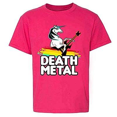 Death Metal Unicorn Retro Rainbow Funny Pink 5 Toddler Kids Girl Boy T-Shirt