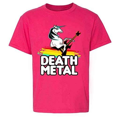 Death Metal Unicorn Retro Rainbow Funny Pink 3T Toddler Kids Girl Boy T-Shirt
