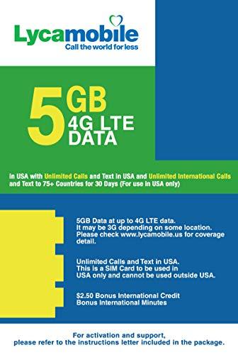 Lyca  t-mobile Reise Sim Karte Prepaid 4GB Highspeed für die USA, inkl. kostenloser Telefonie nach Deutschland