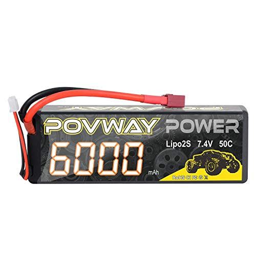 POVWAY 2S 6000mAh 7.4V LiPo Battery Hard Case 50C with T Plug for RC Cars, RC Truck,Buggy