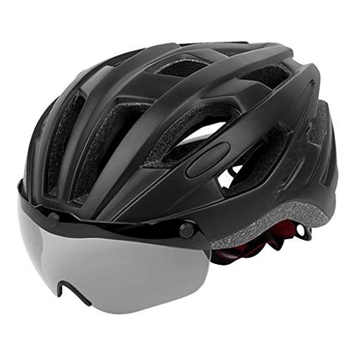 SunniMix Erwachsene Fahrrad Helm mit Magnetische Abnehmbare Brille Einstellbare Größe für Männer Frauen Biking Kopf Protector 21,65-24,4 Zoll - Schwarz