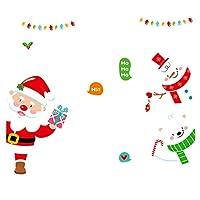ウォールステッカー クリスマス雑貨 熊 雪だるま クリスマスツリー サンタクロース クリスマス飾り 剥がせる かわいい おしゃれ シール式 装飾 ツリー 壁紙 雑貨 ガラス 60x45cm 窓 DIY サンタ 部屋 店舗装飾 雰囲気満点 (E)