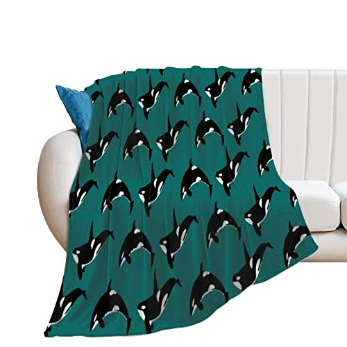Donghouse Blanket Orca Green Flannel Blanket Comfort Velvet Touch Ultra Plush, Novelty Soft Throw Blankets fit Couch Sofa Bedspread Coverlet Bed Cover 50' X 60'