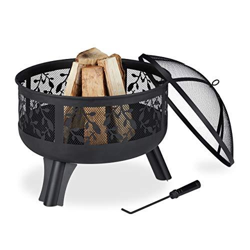 Relaxdays Feuerschale mit Funkenschutz, Garten & Terrasse, mit Schürhaken, Outdoor Feuerkorb, HxD: 60 x 60 cm, schwarz