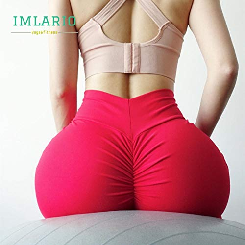 Yogabroek extra zachte legging met zakken voor dames,Dames fitness sportlegging, super stretch yoga broek-Red_M,Blouse met V-hals