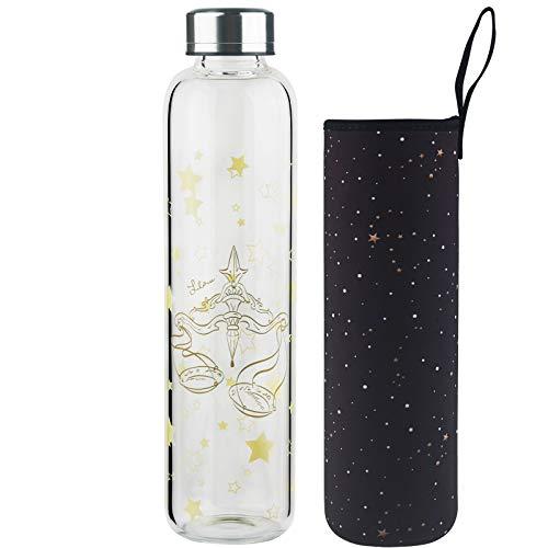 DEARRAY Botella de vidrio borosilicato con estampado de 12 constelaciones 500ml / 1000ml / 1 Litro, Botella de Agua de Cristal con Funda de Neopreno y Elegante Tapa de Acero Inoxidable(Libra,1000ml)