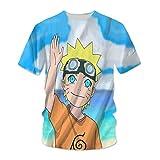 hengshukeji Naruto Uzumaki Naruto Camiseta Verano de Manga Corta 3D patrón Masculino Pareja japonés Camisa Suelta Hombres de Manga Media Ropa de Clase Marea RR0771-Negro_XX-Grande