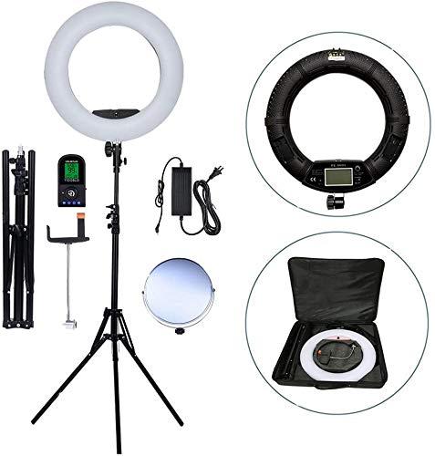 Yidoblo Kit de flash de cámara de fotos y vídeo: pantalla digital de 18 pulgadas, regulable, 5500 K, soporte de luz LED con mando a distancia, 2 pilas para cámara, smartphone, YouTube, autorretratos