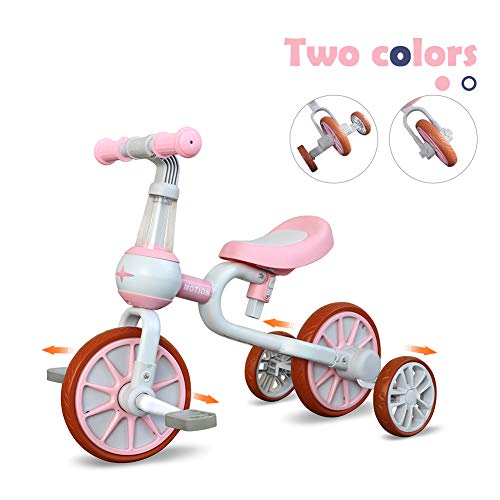3 in 1 Baby Balance Bike for 1-4 Years Old Kids with Detachable Pedal and Training Wheels | Toys for 2 Year Old Boys Girls | Infant Toddler Bicycle Best First Birthday New Year Pink