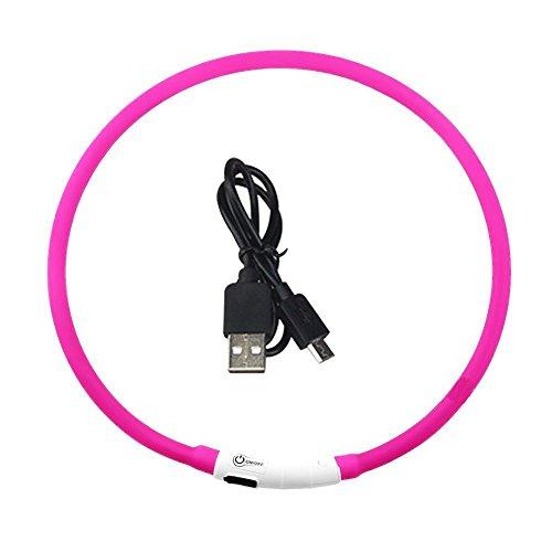 Xingyue Aile buitenverlichting & speelparaties roze heroplaadbare LED 1PCS lichtgevende hondenhalsband-waterdichte verstelbare knipperende gloeiende huisdier-veiligheidskraag