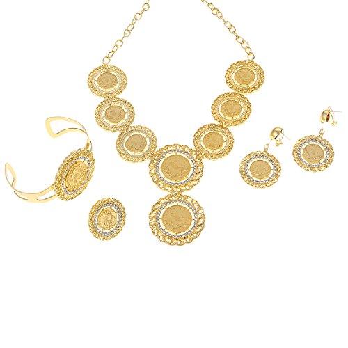 Halskette, Ohrringe, Ring, Armreif, Schmuck-Set mit großen türkischen Münzen, Goldfarben, arabisches Geschenk, für türkische, afrikanische Party