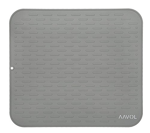 "AAVOL Silicone Dish Drying Mat and Heat-Resistant Trivet (17.8"" x 15.8"") – Dry Dishes, Protect Countertops and Surfaces – Antibacterial – Non-Slip Texture (XL, GREY)"