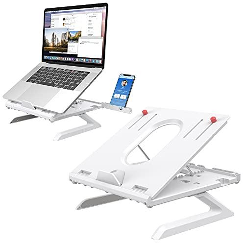 Supporto PC Portatile con Gambe Pieghevoli e Supporto Telefono,Klearlook Supporto Laptop con 9 Altezza Regolabile,Supporto Ergonomico Notebook con Conservazione Tastiera per Laptop e Tablet,Bianca