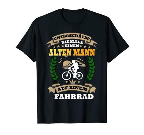 Herren Unterschätze niemals einen Alten Mann mit Fahrrad T-Shirt