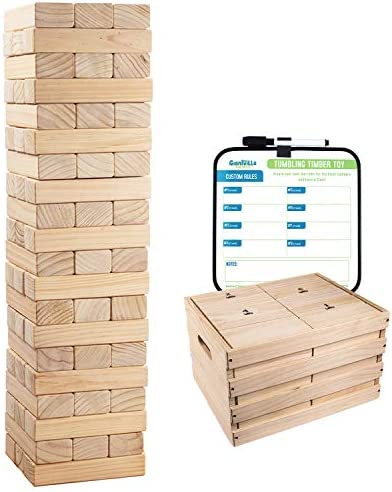 Giant Tumbling Timber Toy 60 Extra Jumbo Wooden Blocks Floor Game for Kids and Adults w Storage product image