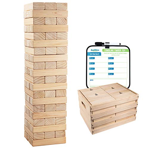 Giant Tumbling Timber Toy - 60 Extra Jumbo Wooden Blocks Floor Game for Kids and Adults, w/ Storage...