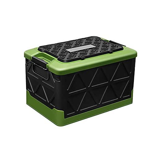 Cajas de Almacenamiento Plegables con Tapa,Robusto Gran Capacidad Baúl Organizador,Plástico Cajas de Utilidad Plegable Apilable Canasta de Almacenamiento Comestibles Contenedore-Verde 50l(19.6x13x12in