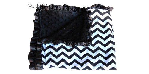 Soft and Cozy Large Minky Blanket - Black Chevron with Satin Trim