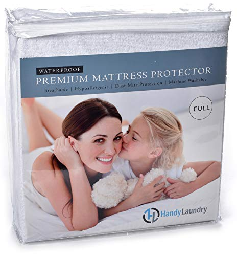 Full Mattress Protector - Waterproof, Breathable, Blocks Allergens, Smooth Soft Cotton Terry Cover. The Premium Mattress Protector Will Surely Increase The Life of Your Mattress. (Full)