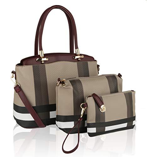 MKF Collection by Mia K. MKF-CB9745BRG Toya Set Handbag Pouch & Wristlet Burgundy - 3 Piece