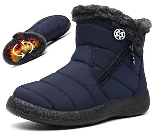 Damskie buty śnieżne damskie sztuczne futro z podszewką zima ciepłe botki krótkie buty boczny zamek błyskawiczny pięta buty wygodne płaskie buty do szkoły pracy rozmiar, - niebieski a - 37.5 EU
