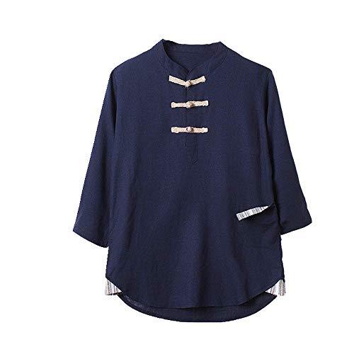 NOBRAND Camisa de lino vintage con botón de placa suelta, de algodón...