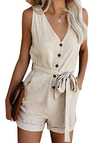 Acelitt Women's Casual V Neck Sleeveless Button Down Tie Waist Summer Short Jumpsuit Rompers Playsuit Short Pants with Pockets Beige Medium
