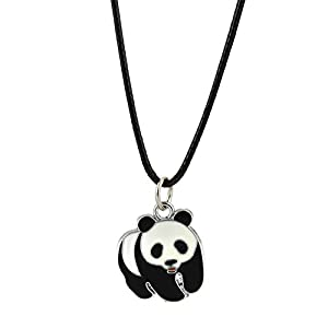 LUREME Lovely Panda Necklace with Black Cord for Women and Girls (nl005742)
