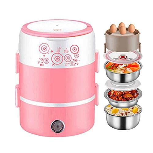 Arrocera multifunción 2 L caja de almuerzo eléctrica, calentador de alimentos portátil con 3 cubos de acero inoxidable extraíbles para oficina, escuela y uso doméstico, color rosa