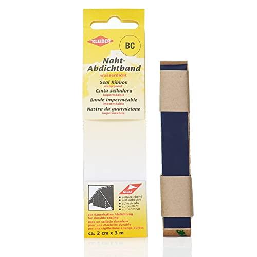 Kleiber 3 m x 2 cm Self Adhesive Waterproof Fabric Seam Repair Tape for Tents Coats Umbrellas Etcetera, Dark Blue